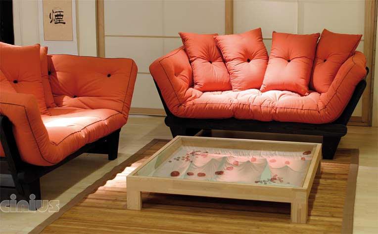 Cinius canap lit futon mod le sole structure en bois - Lit a rouleau transforme en canape ...