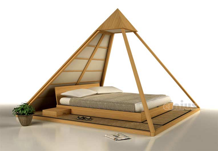 cinius lit en bois cheope keops pyramide caracteris par des dimensions importantes un. Black Bedroom Furniture Sets. Home Design Ideas