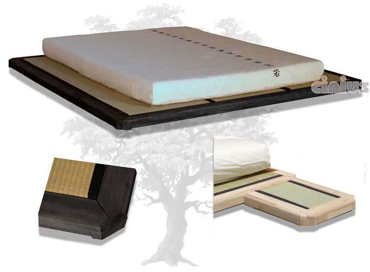 cinius lit en bois dojo lit japonais en bois d 39 h tre massif lamell assemblage par. Black Bedroom Furniture Sets. Home Design Ideas