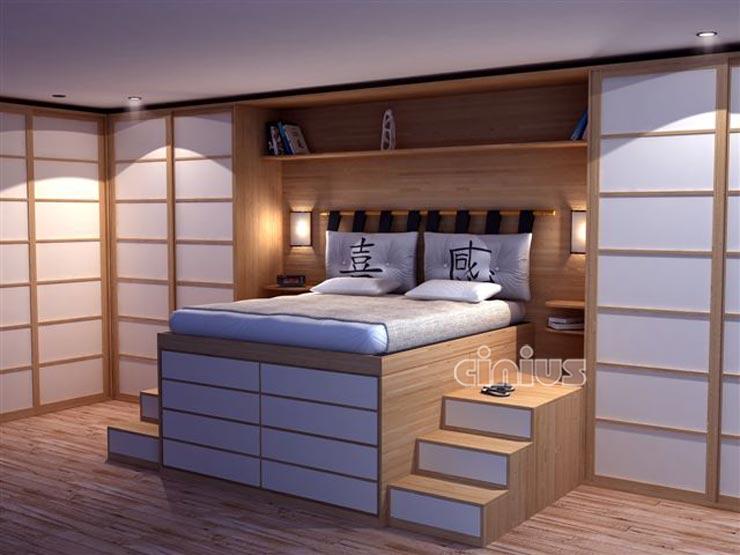 Cinius lit en bois impero lit en bois optimize l for Lit mezzanine avec placard