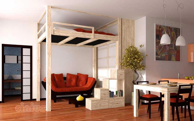 Cinius lit mezzanine rising mezzanine r gable lectriquement en hauteur u - Lit mezzanine escamotable ...
