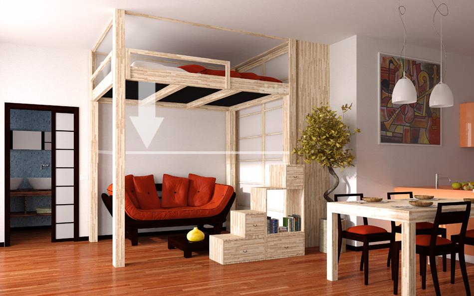 Cinius lit mezzanine rising mezzanine rgable for Lit escamotable electrique plafond