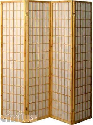 cinius mitoyen 4 battants paravents doubl s en papier de riz et cadre en bois couleur. Black Bedroom Furniture Sets. Home Design Ideas