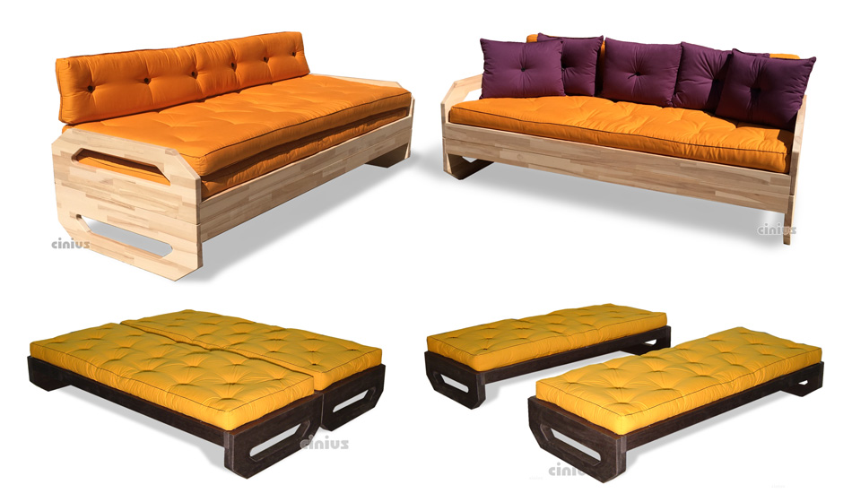 Cinius divano letto matrimoniale modello ops - Trasformare letto singolo in divano ...