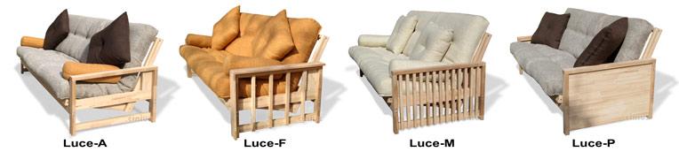 Cinius divano letto futon modello luce con apertura a libro struttura in legno massello - Divano letto a libro ...