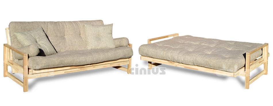 Cinius divano letto futon modello luce con apertura a libro struttura in legno massello - Divano letto apertura a libro ...