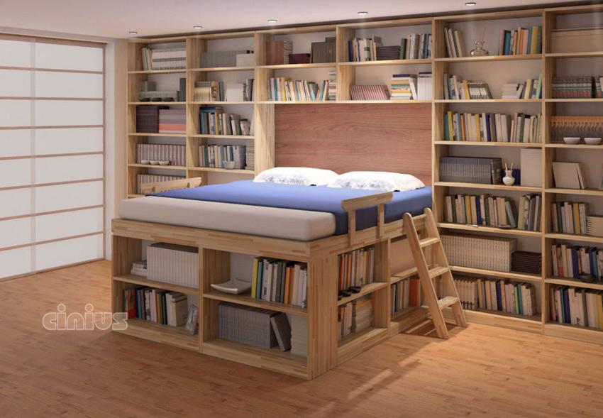 Letto biblioteca di cinius dormire in una libreria - Camera da letto a scomparsa ...