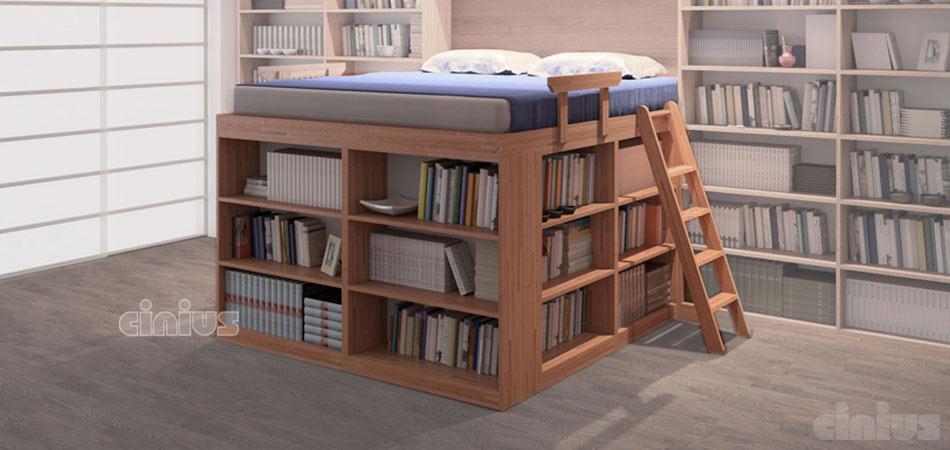 Letto biblioteca di cinius dormire in una libreria for Scaffali libreria in legno