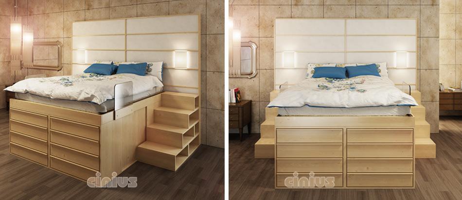 Letto Impero con cassetti frontali di Cinius e scala modulare in legno ...