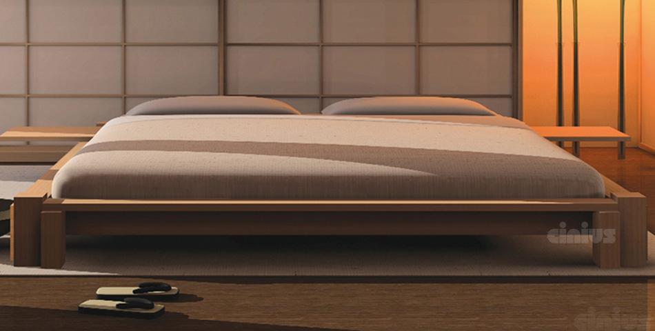 Letto kyoto di cinius stile minimal orientale in legno - Camera da letto legno massello ...