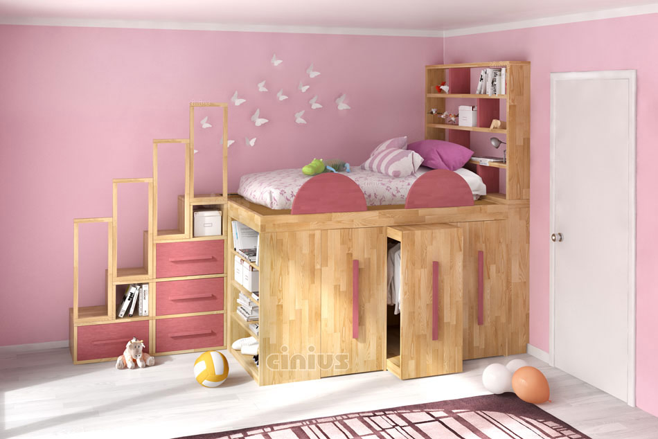 ... letto per bambina con letto Impero Young con libreria scala e cassetti