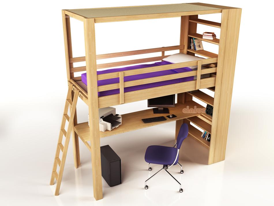Soppalco nido di cinius per la cameretta dei bambini - Letto a soppalco con scrivania ...