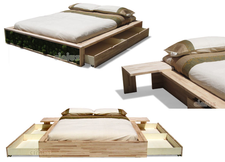 Letto comodo di cinius anche con cassetti salvaspazio - Pediera del letto ...