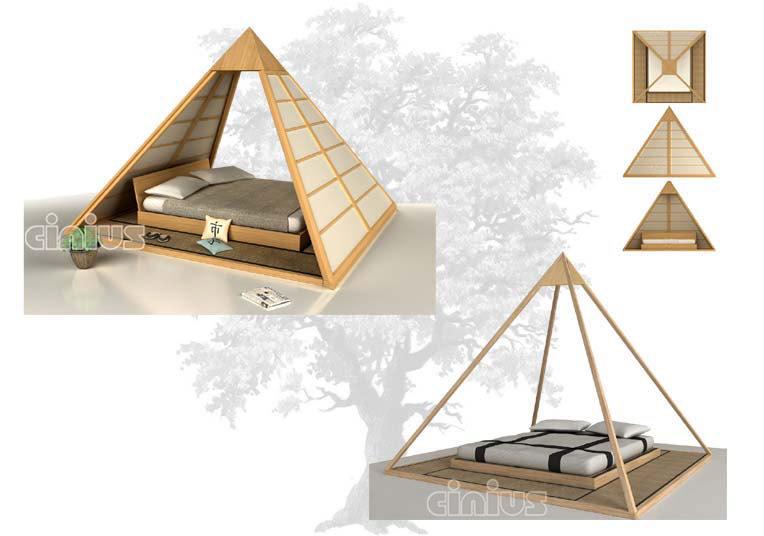 Letto cheope di cinius con baldacchino con punto luce e - Cucine piramide ...