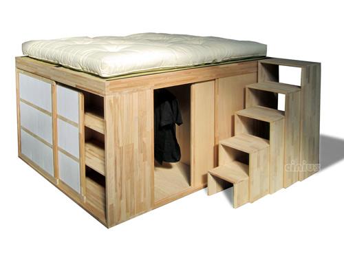 Cinius letto spazio dedicato a chi ama una linea essenziale - Letto in legno grezzo ...