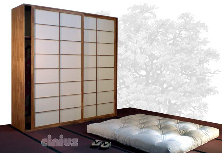 cinius armoires portes coulissantes japonaises shoji en h tre. Black Bedroom Furniture Sets. Home Design Ideas