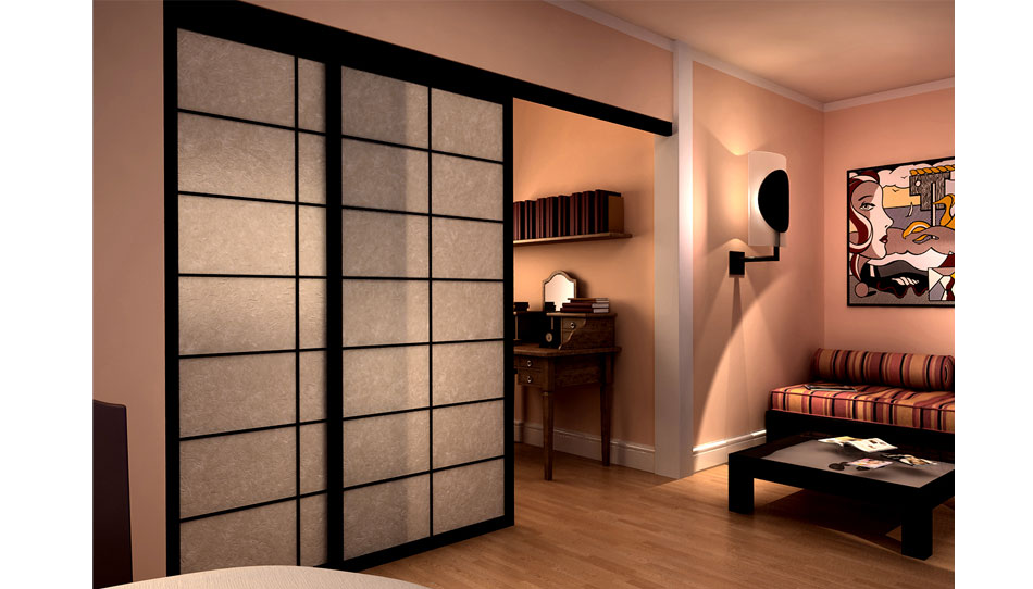 cloison coulissante shoji avec rails suspendus. Black Bedroom Furniture Sets. Home Design Ideas