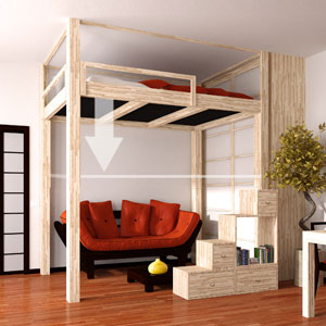 cinius lit mezzanine lits escamotables mezzanine fixe ou lectrique r glable en hauteur pour. Black Bedroom Furniture Sets. Home Design Ideas