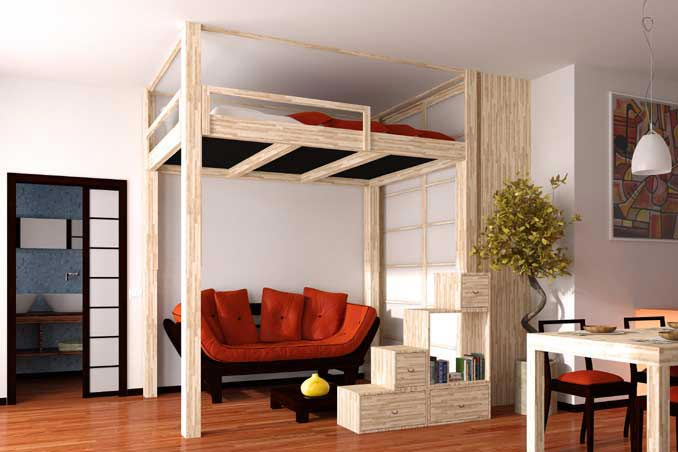 lit mezzanine japonais. Black Bedroom Furniture Sets. Home Design Ideas