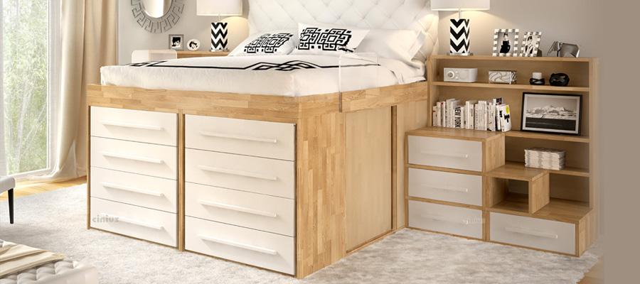 Cinius arredamento ecologico in legno massello - Camera da letto a soppalco ...