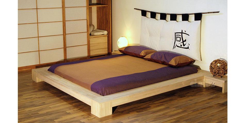 Letto isola di cinius stile giapponese in legno massello - Letto giapponese ...