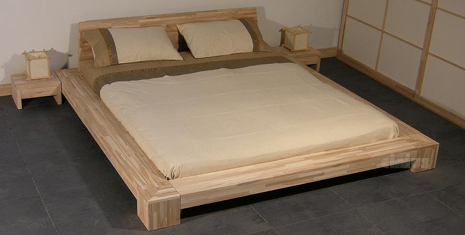 Letto isola di cinius stile giapponese in legno massello senza tatami
