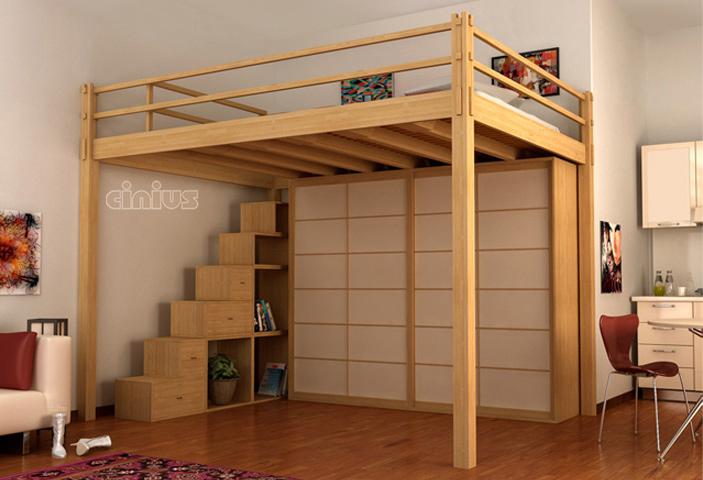 Letti a soppalco cinius soppalchi calpestabili in legno for Piani casa 3 camere da letto e garage doppio